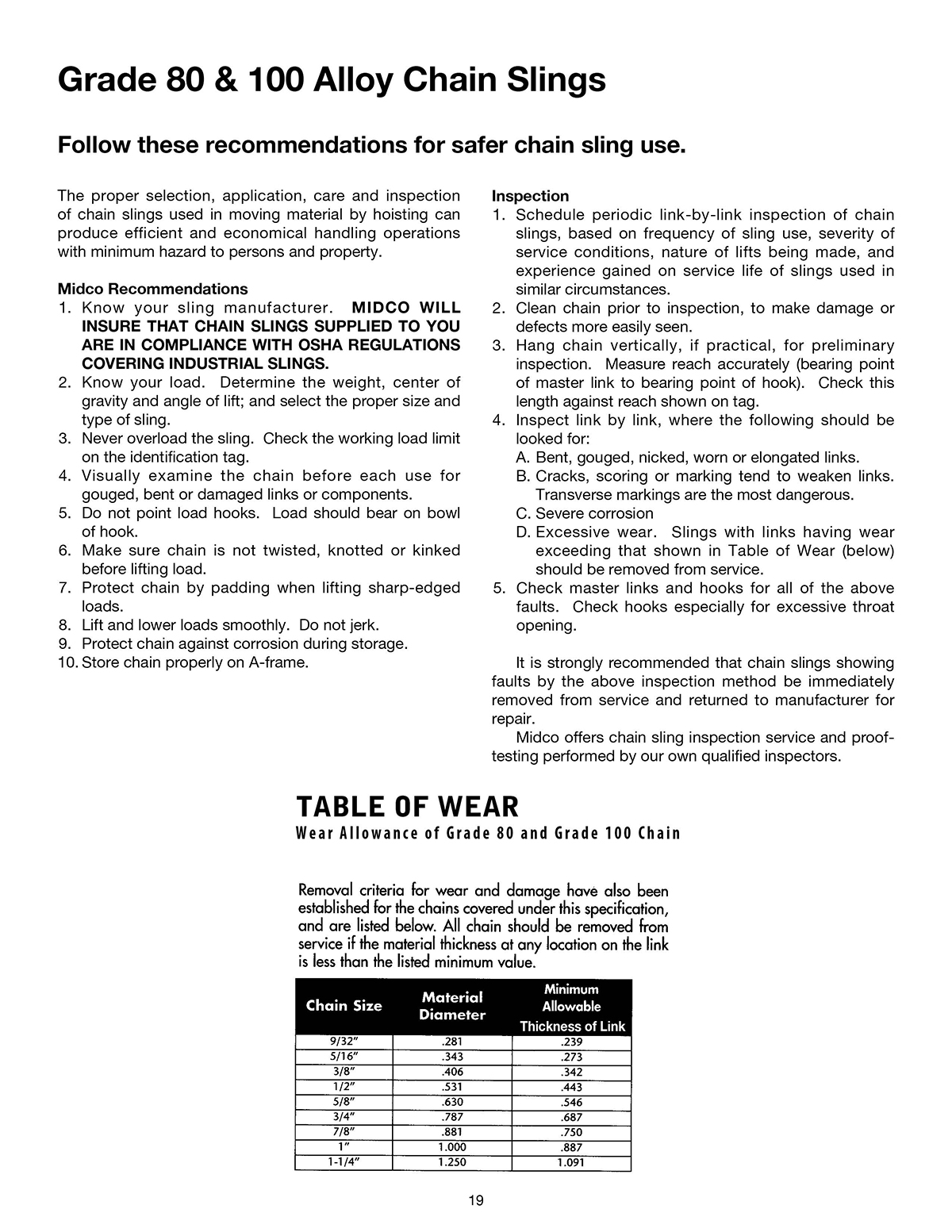 Product Warning & Application Info – Midco Sling